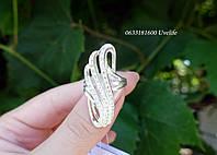 Серебряное кольцо по пальцу с камнями, фото 1