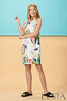 Летнее молочное  платье с принтом попугаи Lesya Кипрей.