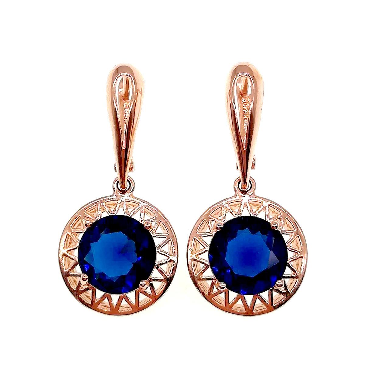 Серьги SONATA из медицинского золота, синие фианиты, позолота PO, 22946