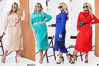 Женское платье-рубашка макси из шифона /разные цвета, 48-62, ST-58274/