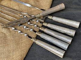"""Набір шампурів ручної роботи з дерев'яними ручками """"Версаль 2"""" + подвійний шампур + виделка, в шкіряному"""