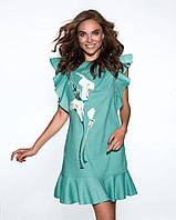 Мятное льняное платье с вышивкой калы Raslov 079