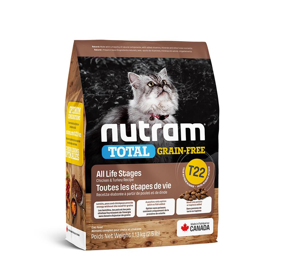 T22 NUTRAM 1,13kg. Беззерновой сухой корм для котов с курицей и индейкой.