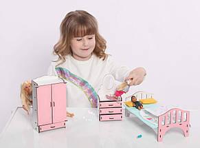 Мебель для кукольного домика Барби NestWood, бело-розовая (СПАЛЬНЯ), фото 3