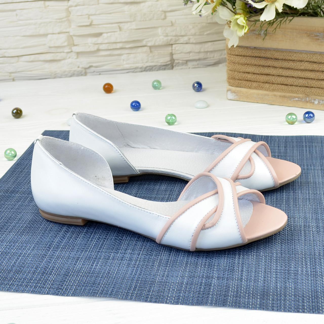 Женские кожаные балетки на низком ходу, цвет белый/пудра
