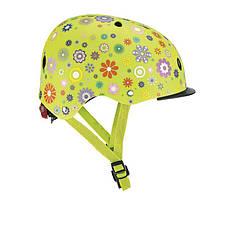 Шлем защитный 48-53см детский GLOBBER Цветы зеленый с фонариком(XS/S), фото 2