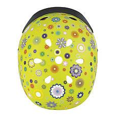 Шлем защитный 48-53см детский GLOBBER Цветы зеленый с фонариком(XS/S), фото 3
