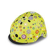 Шлем защитный 48-53см детский GLOBBER Цветы зеленый с фонариком(XS/S)