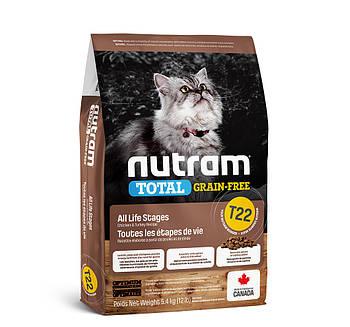 Беззерновой сухой корм для кошек на всех стадиях жизни с курицей и индейкой T22 NUTRAM 5,4 кг