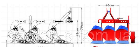 """Плуг трехкорпусный 3-25 Р11 ТМ """"Agrix"""" (с опорным колесом), фото 2"""