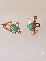 Серьги золотые в греческом стиле с зеленым камнем Украина
