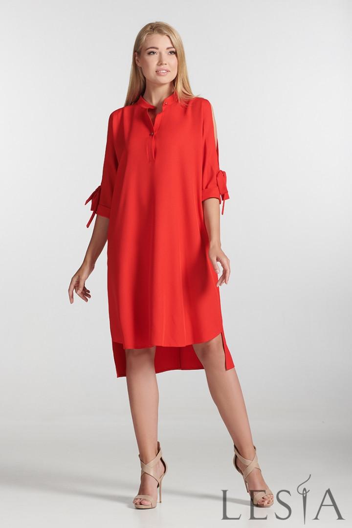 Платье-баллон свободной посадки красное  Lesya Айна 4