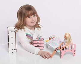 Мебель для кукольного домика Барби NestWood, бело-розовая (СПАЛЬНЯ), фото 2