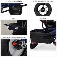 Велосипед трехколесный TURBOTRIKE M 3115HA-11L синий колясочного типа с игровой панелью, фото 4