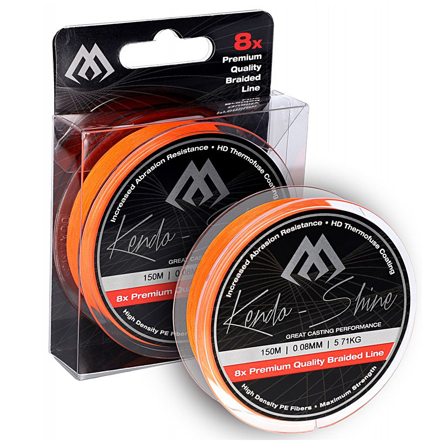 Шнур Mikado Kendo Shine Braid 150м 0,20мм 19,86кг fluo orange