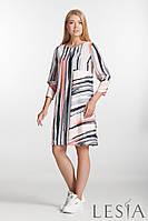 Стильное платье прямого силуэта в полосатый принт Lesya Итая