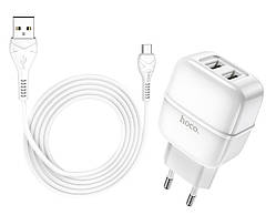Адаптер мережевий HOCO Micro USB cable Highway C77A 2USB, 2.4 A, білий