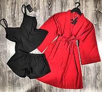 Комплект домашней одежды халат+пижама( майка и шорты).