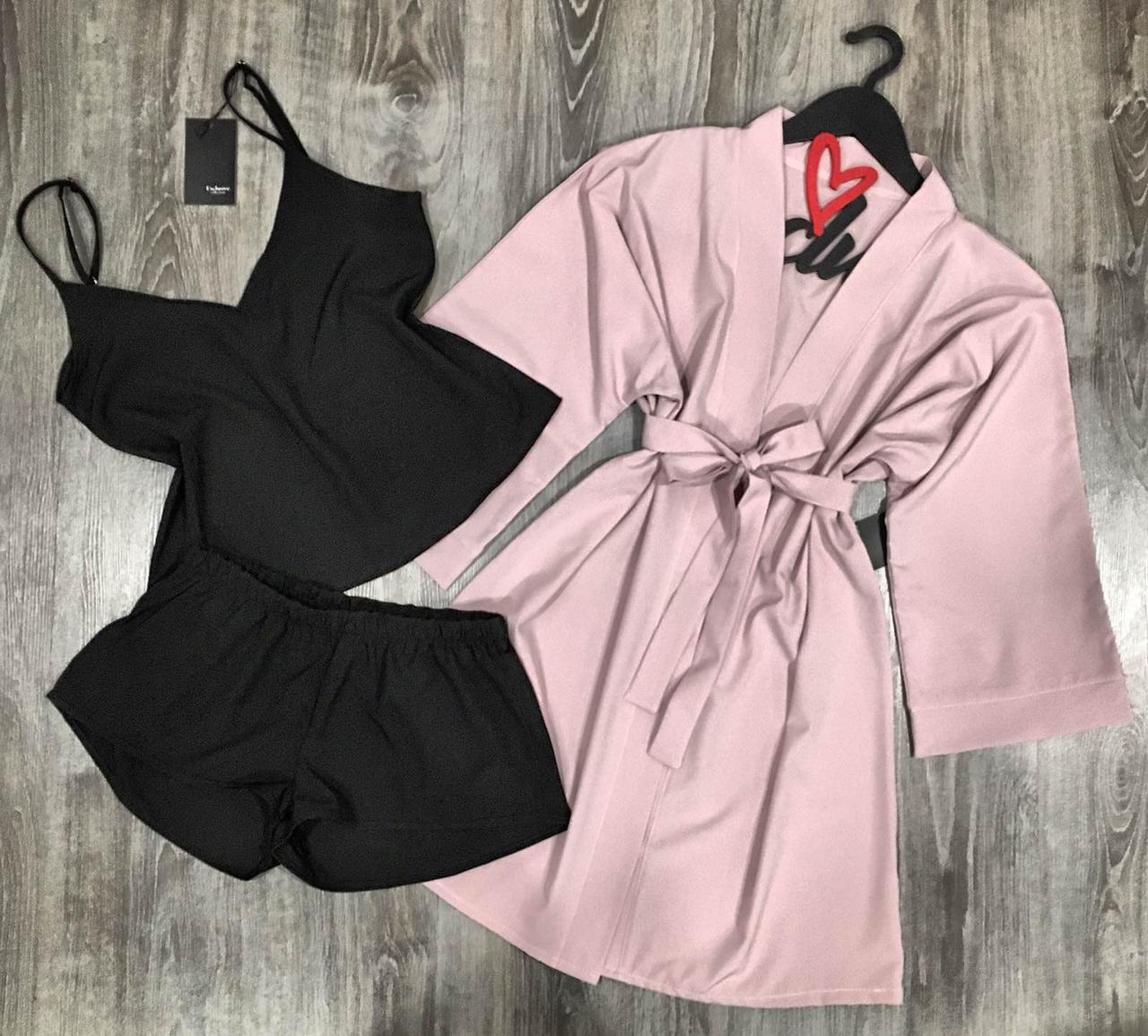 Халат+майка+шорты-комплект домашней одежды.
