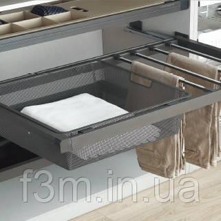 Вешалка для брюк + металлическая корзина-просечка с доводчиком Unihopper: Мокка, 800