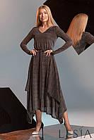 Нарядное платье приталенного силуэта из ткани гофре с люрексом Lesya Элиата.