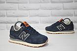Кросівки підліткові/жіночі сині замшеві в стилі New Balance 574 розміри в наявності, фото 2