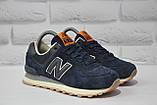 Кросівки підліткові/жіночі сині замшеві в стилі New Balance 574 розміри в наявності, фото 4