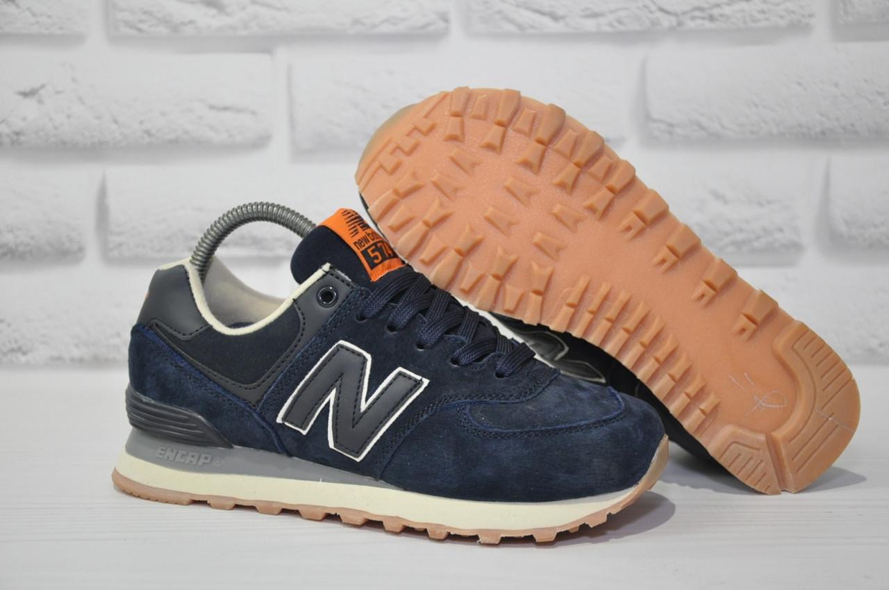 Кросівки підліткові/жіночі сині замшеві в стилі New Balance 574 розміри в наявності