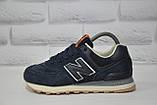Кросівки підліткові/жіночі сині замшеві в стилі New Balance 574 розміри в наявності, фото 3