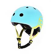 Шлем защитный 45-51см детский Scoot and Ride голубика с фонариком (XXS/XS)