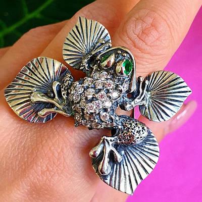 Срібне кільце Жаба - Срібне кільце Жабка - Кільце з срібла грошова жаба