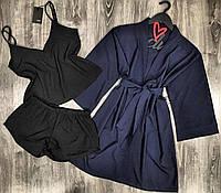 Черная пижама( майка и шорты) + темно-синий халат - комплект 047-021.