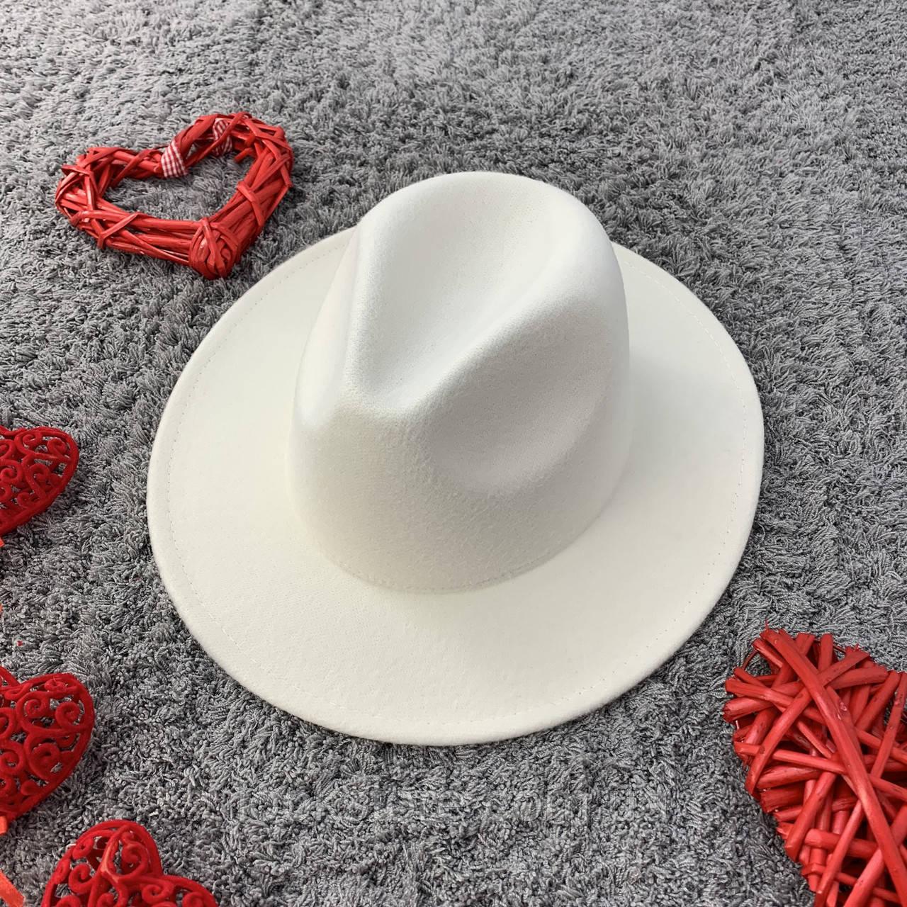 Шляпа Федора унисекс с устойчивыми полями белая