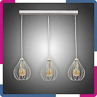 """Светильник подвесной в стиле лофт """"Капля"""" на 3 лампы белый"""