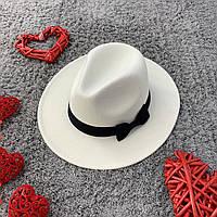 Шляпа женская Федора с устойчивыми полями и бантиком белая, фото 1