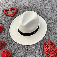 Шляпа Федора унисекс с устойчивыми полями в стиле Maison Michel белая, фото 1