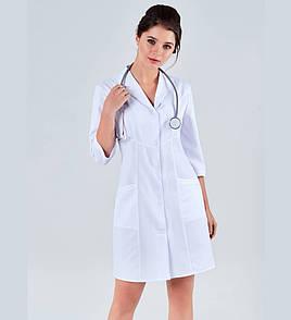 Медицинский халат классический отложной воротник
