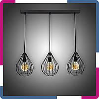 """Светильник подвесной в стиле лофт """"Капля"""" на 3 лампы черный"""