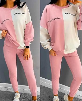 Прогулочный весенний женский спортивный костюм розовый, фото 2