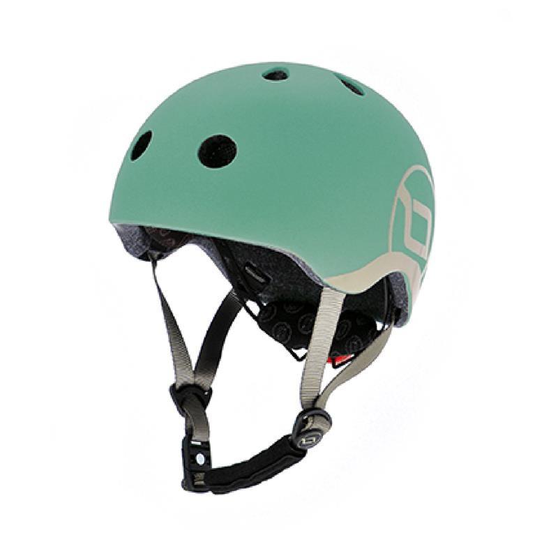 Шолом захисний 45-51см дитячий Scoot and Ride сіро-зелений з ліхтариком (XXS/XS)