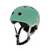 Шлем защитный 45-51см детский Scoot and Ride серо-зеленый с фонариком (XXS/XS)