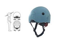 Шолом захисний 45-51см дитячий Scoot and Ride сіро-синій з ліхтариком (XXS/XS), фото 3