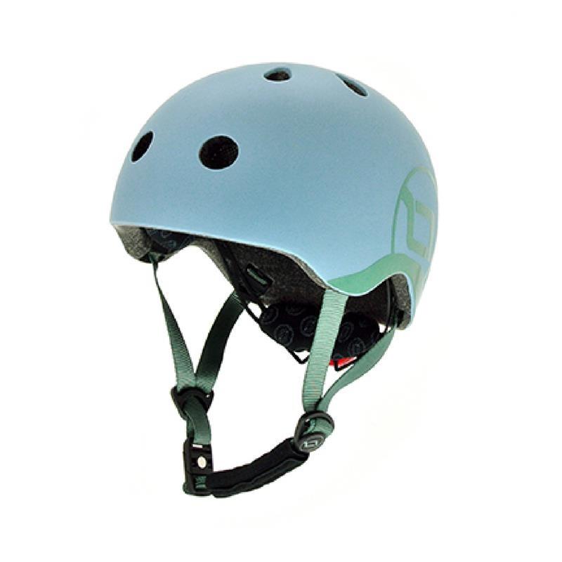 Шолом захисний 45-51см дитячий Scoot and Ride сіро-синій з ліхтариком (XXS/XS)