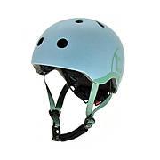 Шлем защитный 45-51см детский Scoot and Ride серо-синий с фонариком (XXS/XS)