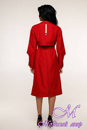 Женский красный плащ с поясом (р. 44-54) арт. 11-98/634, фото 2