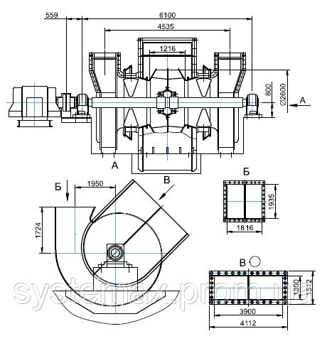 Чертеж габаритных и присоединительных размеров дымососа ДН-26x2