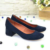 "Туфли женские синие замшевые на устойчивом каблуке. ТМ ""Maestro"". 38 размер"
