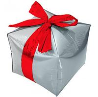 """Фольгированный шар куб Подарок. Цвет: Серебро. Размер:24"""" (29см*26см)..Пр-во:Китай."""