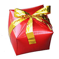 """Фольгированный шар куб Подарок. Цвет: Красный. Размер:24"""" (29см*26см)..Пр-во:Китай."""