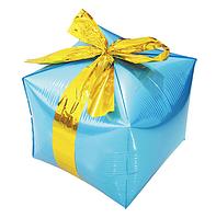 """Фольгированный шар куб Подарок. Цвет: Голубой. Размер:24"""" (29см*26см)..Пр-во:Китай."""